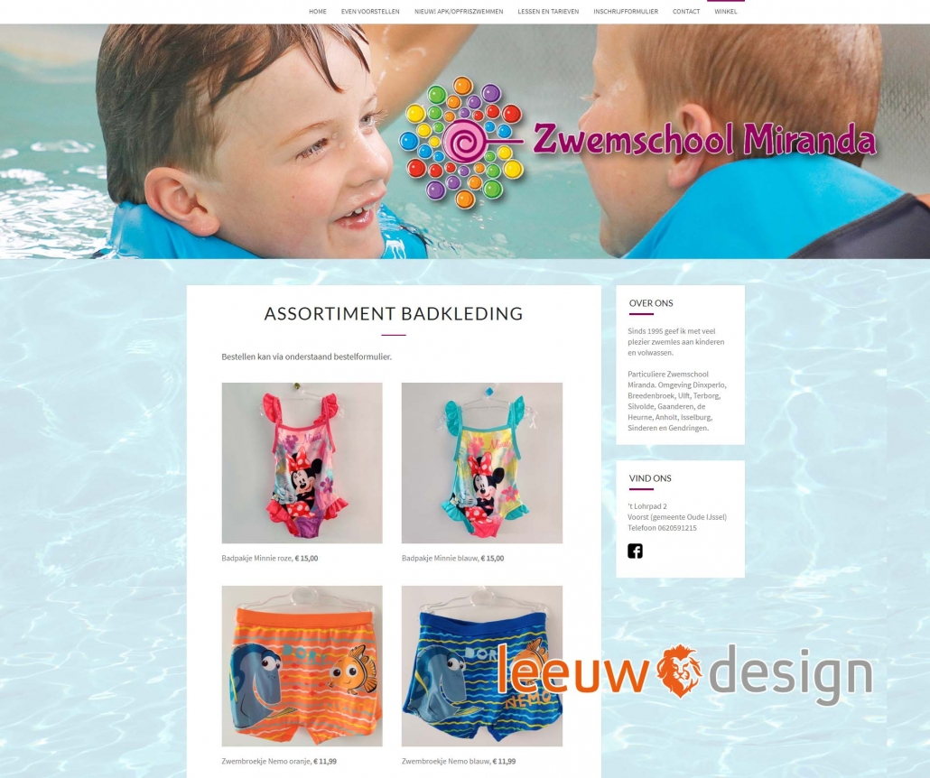 Webwinkel zwemschoolmiranda.nl