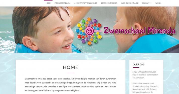Website zwemschoolmiranda.nl