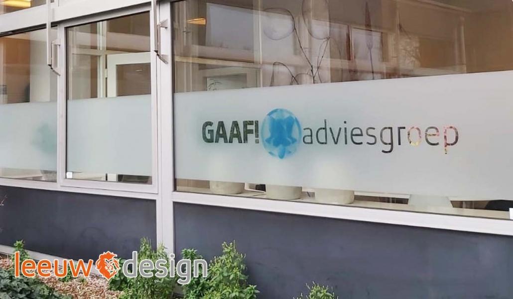 Belettering GAAF! adviesgroep